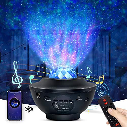 OTTOLIVES LED Sternenhimmel Projektor Baby Nachtlichter Projektor Lampe Sternenhimmel Lampe, mit Fernbedienung und Timer, Bluetooth Lautsprecher, für...