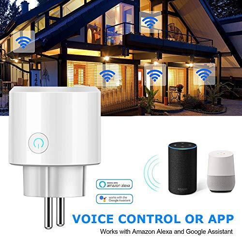 SHELLTB Smart Plug WiFi-Steckdose Mini Outlet mit Timing-Funktion zur Energieüberwachung. Kompatibel mit Alexa Google Home und IFTTT,White