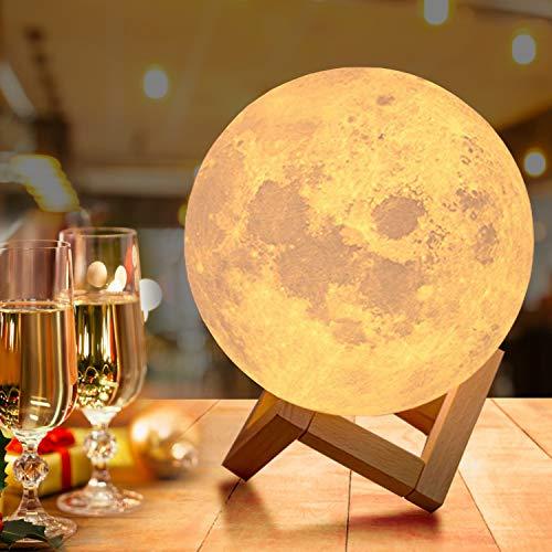 18cm Groß Mondlampe mit Fernbedienung,OxyLED Farbige Dekoleuchte 3D Mond Kunst LED RGB Mondlampe tragbares Nachtlicht mit Dimmbar,16 Lichtfarben...