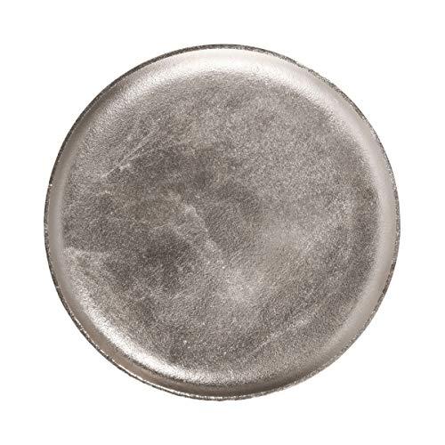 Butlers Banquet Vintage Dekoteller Ø 28cm - Servierteller in Retro Optik aus Aluminium silbern vernickelt - Kerzenteller