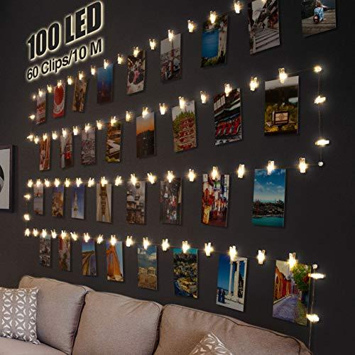 LED Fotoclips Lichterkette für Zimmer Deko, Litogo 10M 100LED Lichterkette mit 60 Klammern für Fotos Lichterkette Wand Batteriebetriebene Lichterkette Bilder für...