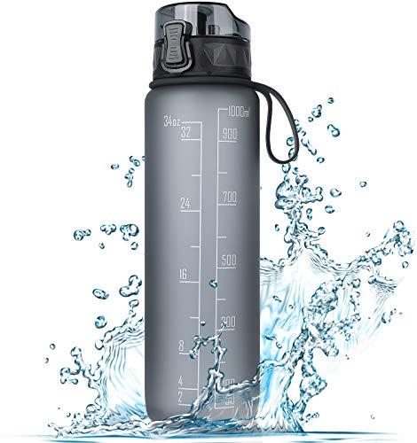 FRETREE Trinkflasche 1L Sport Wasserflasche - [Trinkflasche BPA Frei] Trinkflasche mit rutschfest Gummi Grip Geeignet für Die Fahrrad, Outdoor, Schule, Gym