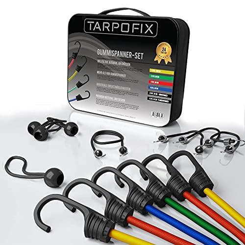 Tarpofix® Premium Gepäckspanner Gummispanner - 24-teiliges universal Spanner Expander-Set inkl. Planenspanner kurz - extra Starke Spanngummis mit Haken für...