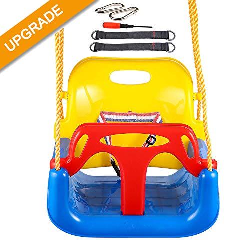 IMMEK Babyschaukel 3 in 1 Babysitz verstellbar und mitwachsend Schaukelsitz Gartenschaukel für Baby und Kinder mit Rückenlehne und Anschnallgurt belastbar bis...