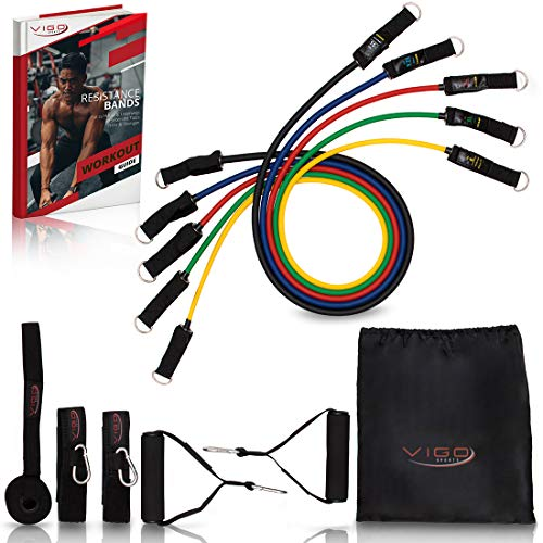 Vigo Sports Resistance Bands Expander Set incl. Video course & PDF instructions - effective home workout with the fitness bands resistance bands set - resistance band ...