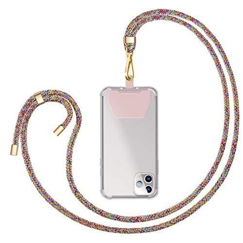 ZhinkArts Universale Handykette kompatibel mit Apple iPhone/Samsung Galaxy/Huawei/Xiaomi/u.v.m - Smartphone Necklace - Kette zum umhängen in Rainbow