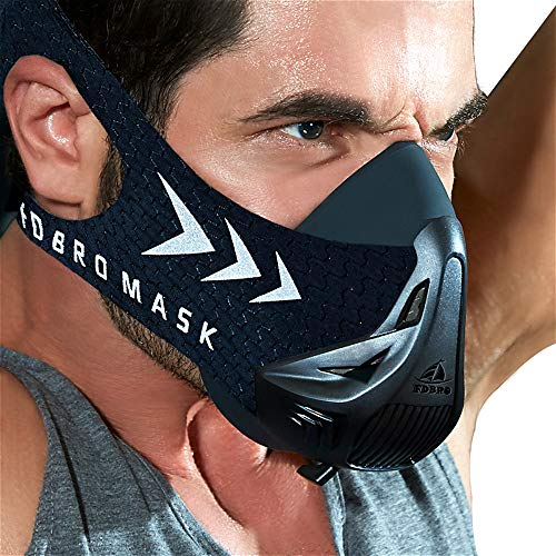FDBRO Training Mask Workout Mask - High Altitude Endurance Mask Increases Strength, Running Resistance Breath Mask with Carrying Bag (Black, S)