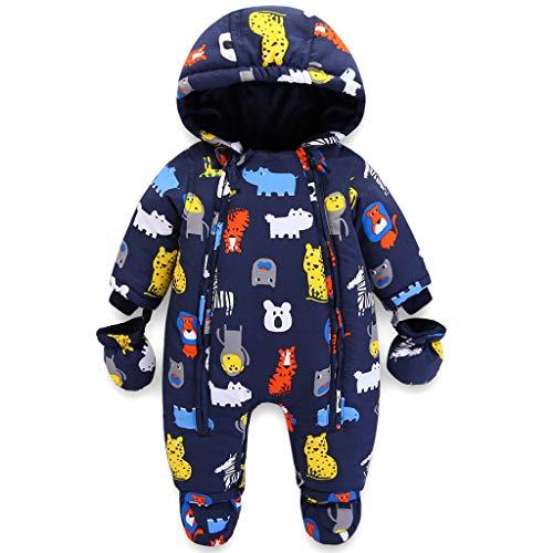 Baby Winter Overall Mit Kapuze Jungen Schneeanzüge mit Handschuhen und Füßlinge Warm Kleidungsset 18-24 Monate