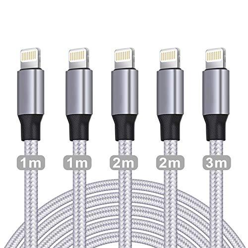 WUYA für iPhone Ladekabel, MFi Zertifiziert Datenkabel für iPhone Kabel(5Pack-1/1/2/2/3m) USB A auf Lightning Kabel Kompatibel mit iPhone 12 11 Pro XS Max XR X 8...