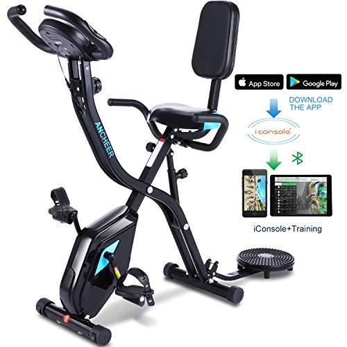 ANCHEER Heimtrainer Fahrrad F Bike, 3-in-1Fitness Klappbar Fahrrad, stationäres Heimtrainer mit 10 stufig einstellbarem Magnetwiderstand APP Programm Digitaler