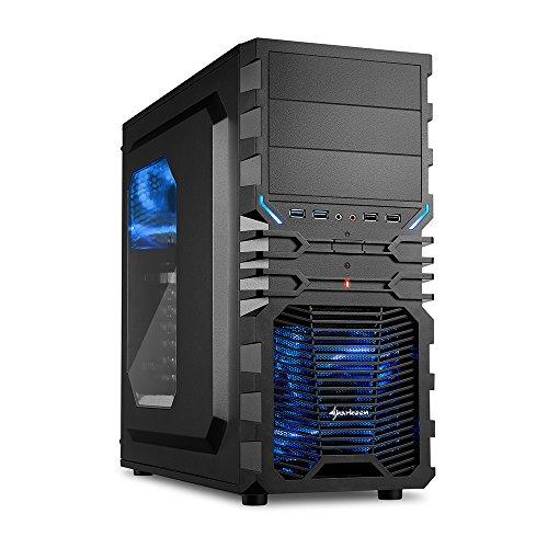 Sharkoon VG4-W Blau PC-Gehäuse mit Window Kit (2x USB 3.0, 2x USB 2.0, ATX) schwarz/blau