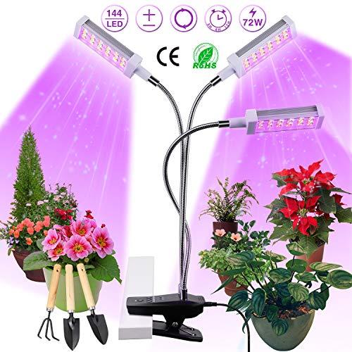 Pflanzenlampe LED, Pflanzenlicht, Pflanzenleuchte 72W, Wachsen licht with 144 Leds, Wachstumslampe Vollspektrum Wachstumslampe für Zimmerpflanzen mit Zeitschaltuhr,...