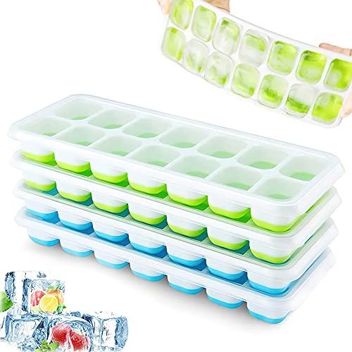 Eiswürfelform, 4er Pack Eiswürfelform Silikon Mit Deckelm, Platzsparend und stapelbar Ice Tray Ice Cube, LFGB Zertifiziert und BPA Frei Quadratische...