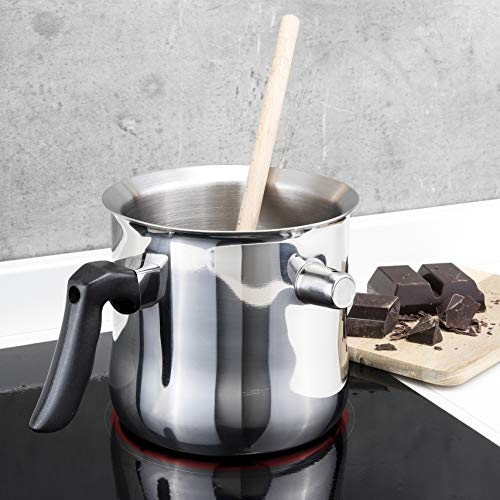HI Milchtopf & Simmertopf (1,2 Liter) - Milchkochtopf doppelwandig, z.B. zum Milch erwärmen im Wasserbad Topf, Milchtopf Edelstahl, Wasserbad Schmelztopf,...