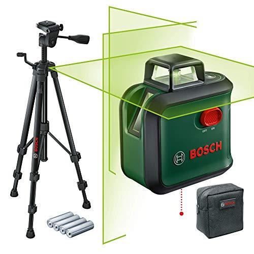 Bosch Kreuzlinienlaser AdvancedLevel 360 Set (Horizontale 360°-Laserlinie, zwei vertikale Linien und Lotpunkt unten, grüner Laser, 4x AA-Batterien, mit Stativ, im...