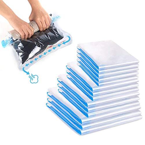 otumixx Reise Vakuumbeutel zum Rollen 14 Stück Kompressionsbeutel 4 Größen Wiederverwendbar Vakuumbeutel Reise robuste Vakuum Aufbewahrungsbeutel für Kleidung...