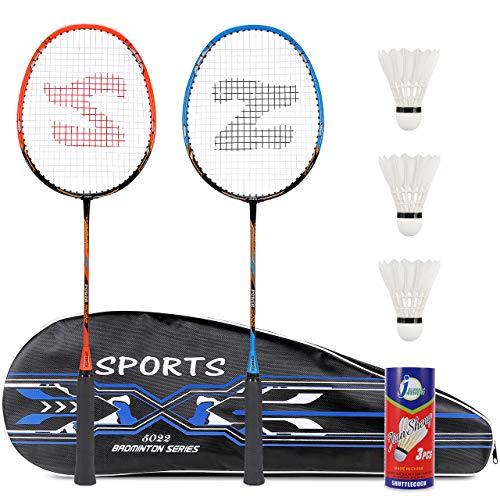 Fostoy Badmintonschläger Set, 2 Pack Badmintonschläger mit 3 Federbällen & Tragetasche & 2 Overgrip, Leichter Carbon Badmintonschläger für Indoor Outdoor...