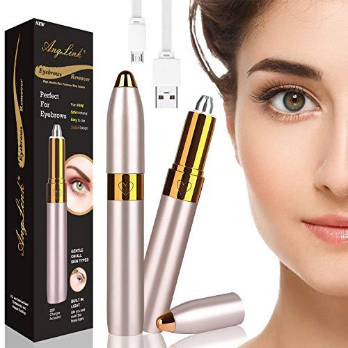AngLink Elektrisch Augenbrauentrimmer, USB Augenbrauen Rasier für Damen Augenbrauen Rasier Eingebautes Helles mit Einer Reinigungsbürste (Gold)