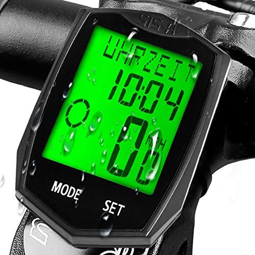 KASTEWILL Fahrradcomputer Drahtlos Wasserdicht, Fahrrad Kilometerzähler Automatische Wake-up 24 Funktionen 5 Sprachen LCD-Hintergrundbeleuchtung Kilometerzähler,...