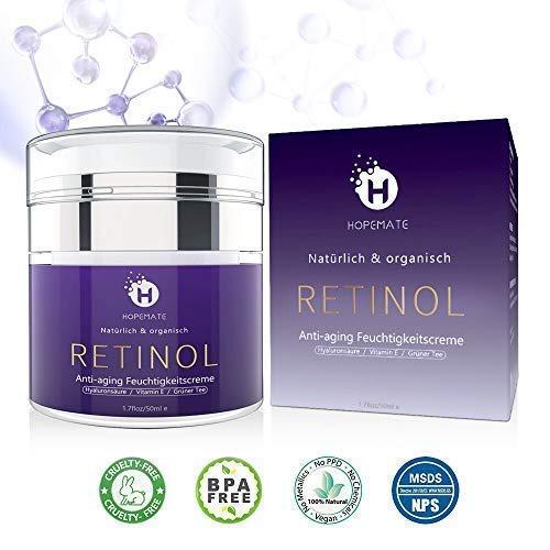Retinol Feuchtigkeitscreme Creme, Anti-Aging & Anti Falten Creme von HOPEMATE für Gesicht & Augen, für Tag & Nacht, mit 2,5% Retinol + Hyaluronsäure + Vitamin E +...