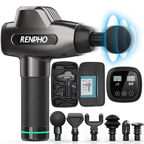 RENPHO Massagepistole für Nacken Schulter Rücken Massage Gun Massagegerät Elektrisch Entspannen mit 4 Massageköpfen und 20 Geschwindigkeiten Vibrationsgerät...