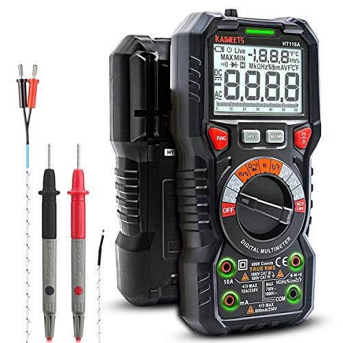 KAIWEETS Digital Multimeter mit LED-Buchsen, Strommessgerät CAT III 1000 V, CAT IV 600 V True RMS Auto-Range 6000 Zähler, misst Spannung,Kapazität, Temperatur,...
