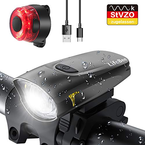 LIFEBEE LED Bicycle Light, StVZO Approved USB Rechargeable Bicycle Lights Bicycle Light Front Rear Light Set, Waterproof Bicycle Lights Set Bicycle Light ...