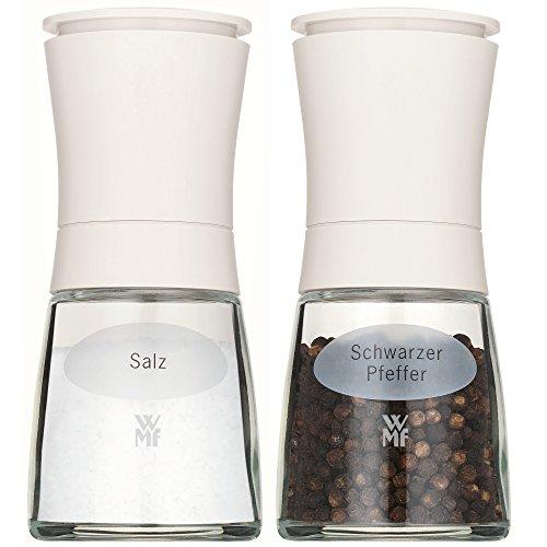 WMF Trend Salz und Pfeffermühle Set, 2-teilig, befüllt, Kunstoff, Glas, Keramikmahlwerk, Mühle für Salz, Pfeffer, Gewürze H 14 cm, weiß