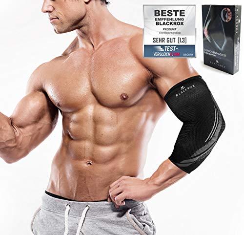 BLACKROX Ellenbogenbandage Vergleichssieger, Tennisarm Bodybulding mit Kompression für Damen & Herren, elastisch, für Fitness Volleyball, Handball,...