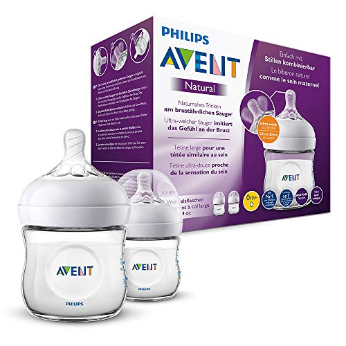 Philips Avent Natural Flasche SCF030/27, 125ml, naturnahes Trinkverhalten, Anti-Kolik-System, transparent, 2er Pack
