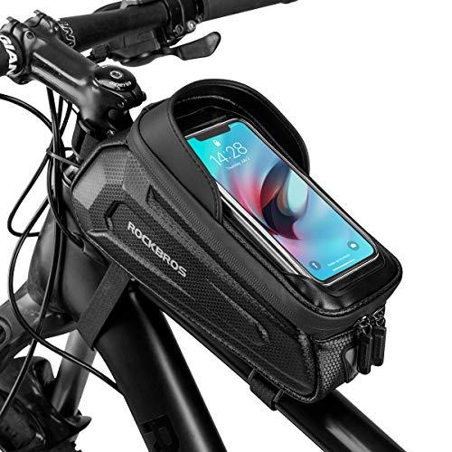 ROCKBROS Fahrrad Rahmentasche Lenkertasche Wasserdicht Handytasche für Smartphone bis zu 6.8 Zoll mit TPU Sensitivem Touchscreen für Montainbikes, Rennrad, Ebikes