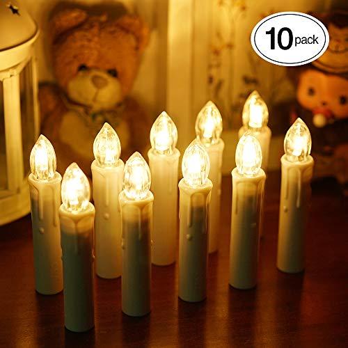 Samoleus 10 Stück Weihnachtskerzen Lichterkette, Weihnachts Kerzen Kabellos mit Fernbedienung, Wasserdichte Christbaumkerzen LED Kerzenlichter Kabellos für...