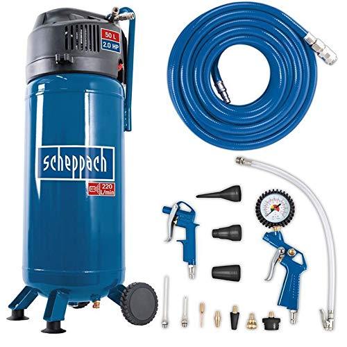 Scheppach Kompressor HC51V (1500W, 50 L, 10 bar, Ansaugleistung 220 l/min, Druckminderer, ölfrei, stehende platzsparende Bauweise) - inkl. 13-teiligem...