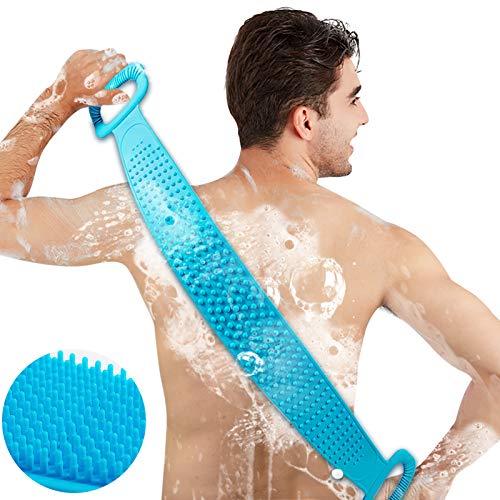 Inmorven Rückenbürste Körperbürste 76cm Verlängern, Rückenschrubber Massagebürste Silikon, Duschbürste Dusche Scrub, Körper Peeling Fuß Peeling Schrubber