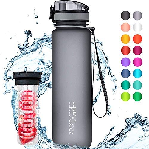 """720°DGREE Trinkflasche """"uberBottle"""" - 1 Liter, 1000ml, Grau - Neuartige Tritan Wasser-Flasche - Water Bottle BPA Frei - Ideale Sportflasche für Kinder,..."""
