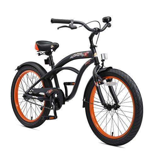 BIKESTAR Kinderfahrrad für Jungen ab 6-7 Jahre | 20 Zoll Kinderrad Cruiser | Fahrrad für Kinder Schwarz (matt) | Risikofrei Testen