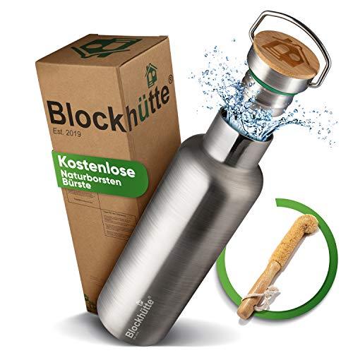 Blockhütte® Premium Edelstahl Trinkflasche isoliert mit [GRATIS Bürste] - Die Innovative Isolierflasche ist auslaufsicher. - Die Edelstahl Trinkflasche ist für...