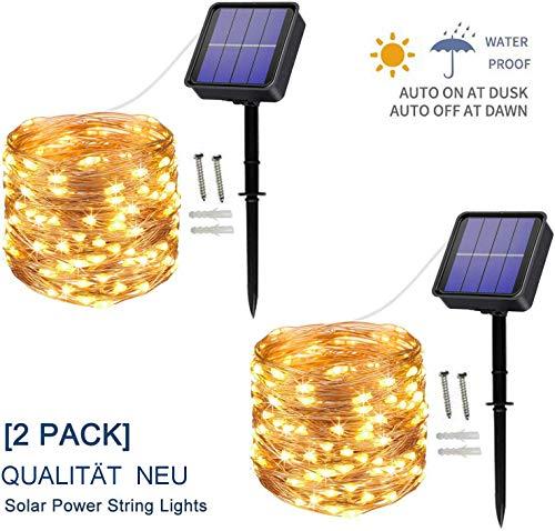 [2 Stück] Solar Lichterkette Außen, 12M 120 LED Lichterketten Aussen, Wasserdicht Kupferdraht Weihnachtsbeleuchtung Warmweiß Lichterkette für Balkon, gartendeko,...