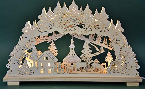 Heinz Handelskontor candle arch candle arch candlestick Seiffen village 10flammig indoor natural 58 cm wide Christmas Advent gift decoration (10758)