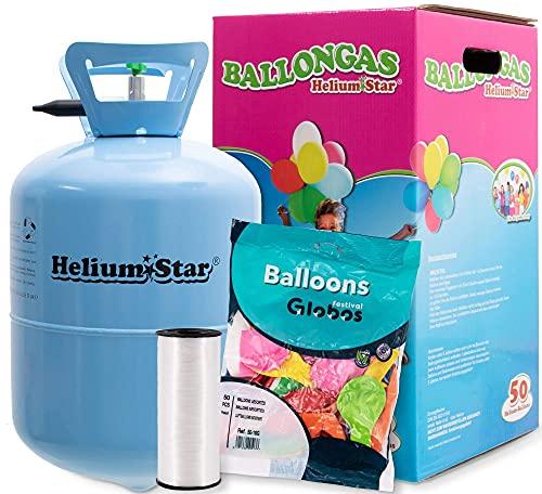 Heliumpallokaasu jopa 50 ilmapallolle + 50 värillistä lateksipalloa (Ø 25 cm) + monisäikeinen kertakäyttöinen HeliumStar®-pullo XXL Kertakäyttöinen