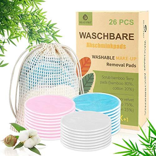 Abschminkpads Waschbar 26 Stück Wiederverwendbare Wattepads Bambus, Abschminktücher aus Bambus & Baumwolle mit Wäschebeutel - Makeup Entferner Pads -...