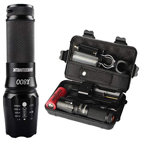 Shadowhawk X800 LED Taschenlampe, Super Helle 4000 Lumen CREE Taschenlampen, 5 Licht Modi, Wiederaufladbare Taschenlampe mit Zoom für Camping, Wandern und Notfälle...