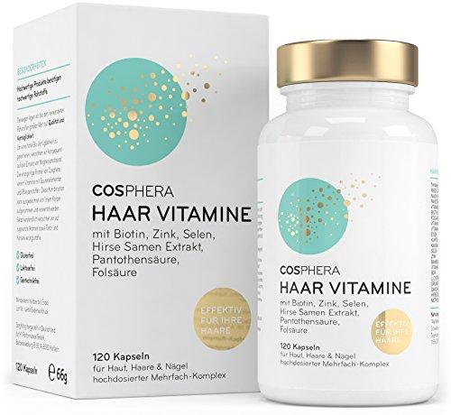 Cosphera hair vitamins - high dose with biotin, selenium, zinc, folic acid, millet seed extract - 120 vegan capsules in 2 months stock - hair capsules for men and ...