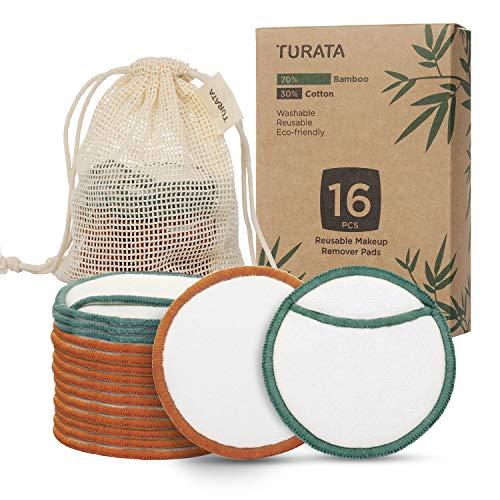 Waschbare Abschminkpads TURATA 16 Stücks Reinigungspads Wiederverwendbare Wattepads Make Up Entferner Pads aus Bambus & Baumwolle mit Wäschebeutel Umweltfreundlich...
