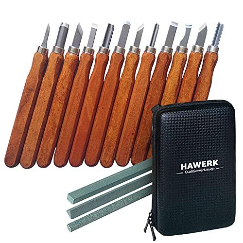 Hawerk Schnitzwerkzeug Set für Profis und Anfänger   12 Tlg. + 3 Schleifsteine + Tasche   Schnitzmesser Erwachsene und Kinder für Holz   Schnitzset zum Schnitzen