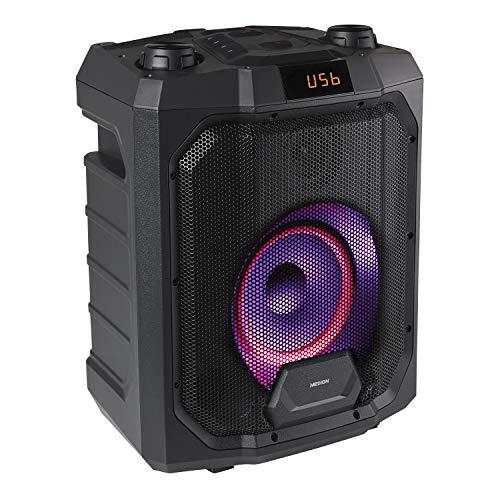 MEDION P61988 Party-Soundsystem (Mobile PA, Partylautsprecher,Karaoke, Bluetooth, Kompaktanlage, 500 Watt, 4000mAh Akku, Farbige LED, USB, AUX, Mikrofonanschluss,...