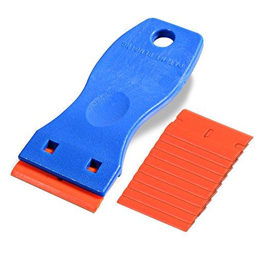 Ehdis Mini Kunststoff Schaber mit 10 Kunststoff klingen, Plastikspachtel, Plastik schaber für klebereste entferner, klebstoffentferner, kleberentferner, Blau