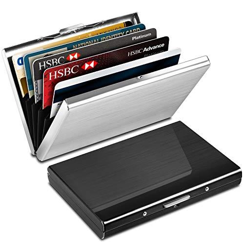 Kreditkartenetui Kartenetui aus Aluminium, Yosemy RFID Blocking Kreditkartenhülle Edelstahl Kreditkartenetui, 6 Fächer für bis zu 10 Karten, Slim-Wallet für...