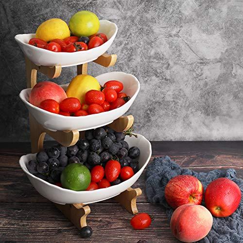 Obst Etagere Keramik 3 Stöckig Porzellan Obstteller 3 Etagen Obstschale mit Natürlichem Bambus Ständer Servierteller für Obst, Kuchen, Süßigkeiten