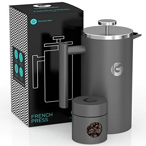 Coffee Gator French Press Kaffeemaschine – Heißer-für-länger Thermobrüher mit weniger Ablagerungen – Plus Behälter – Großes Fassungsvermögen,...